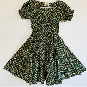 Vintage 50s Dainty Floral Fit N Flare Swing Dress